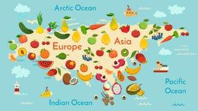 Mappa di mondo della frutta, l'Eurasia Immagini Stock