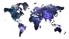 Mappa di mondo della galassia Immagini Stock