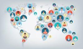 Mappa di mondo della gente, illustrazione di vettore Immagini Stock Libere da Diritti