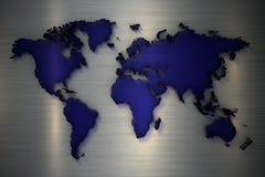 mappa di mondo della rappresentazione 3d di vetro trasparente blu su un fondo metelic illustrazione di stock