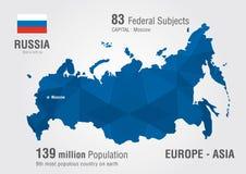 Mappa di mondo della Russia con un modello del diamante del pixel Fotografia Stock