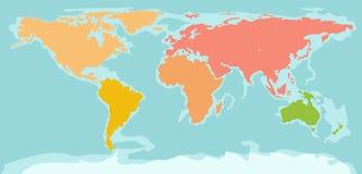 Mappa di mondo della siluetta di colore Fotografia Stock Libera da Diritti