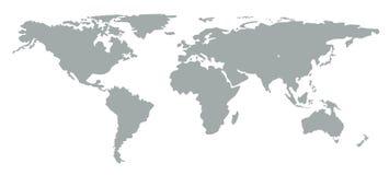 Mappa di mondo della siluetta su fondo bianco Fotografia Stock Libera da Diritti
