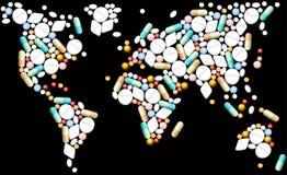 Mappa di mondo delle compresse Immagine Stock Libera da Diritti