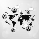 Mappa di mondo delle icone di comunicazione della rete sociale Fotografia Stock