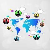 Mappa di mondo delle icone di comunicazione della rete sociale Fotografie Stock
