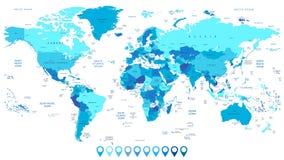 Mappa di mondo dettagliata a colori dei puntatori della mappa e del blu Fotografie Stock Libere da Diritti