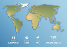 Mappa di mondo dettagliata con informazioni di base, mappa in bianco Fotografie Stock Libere da Diritti