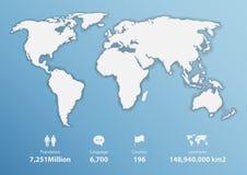 Mappa di mondo dettagliata con informazioni di base, mappa in bianco Fotografia Stock Libera da Diritti