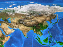 Mappa di mondo di alta risoluzione messa a fuoco sull'Asia Immagini Stock Libere da Diritti