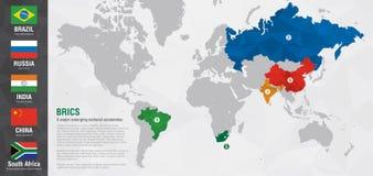 Mappa di mondo di BRICS con una struttura del diamante del pixel Immagini Stock