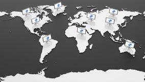 Mappa di mondo di Ciao-tecnologia Immagine Stock