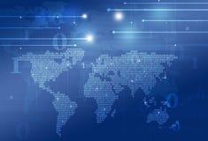 Mappa di mondo di codice binario di tecnologia Fotografie Stock Libere da Diritti