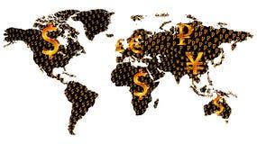 Mappa di mondo di valuta illustrazione di stock