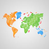 Mappa di mondo di vettore Fotografia Stock