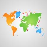 Mappa di mondo di vettore Fotografia Stock Libera da Diritti
