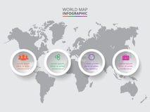 Mappa di mondo di vettore con gli elementi infographic Fotografie Stock