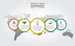 Mappa di mondo di vettore con gli elementi infographic Fotografie Stock Libere da Diritti
