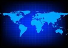 Mappa di mondo di vettore su fondo blu Immagine Stock