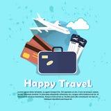 Mappa di mondo di volo del bagaglio del biglietto aereo dell'aria dell'insegna di viaggio di festa di vacanza illustrazione vettoriale