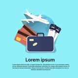 Mappa di mondo di volo del bagaglio del biglietto aereo dell'aria dell'insegna di viaggio di festa di vacanza illustrazione di stock