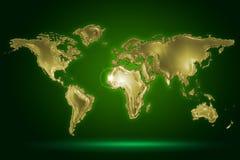 Mappa di mondo dorata Immagini Stock Libere da Diritti