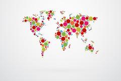 Mappa di mondo Dots Vector Immagine Stock