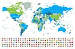 Mappa di mondo e bandiere - confini, paesi e città - illustrazione illustrazione vettoriale