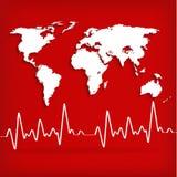 Mappa di mondo e cardiogramma dei battiti cardiaci Fotografia Stock Libera da Diritti