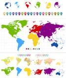 Mappa di mondo e continenti variopinti illustrazione vettoriale