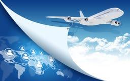 Mappa di mondo e dell'aeroplano con la rete Fotografie Stock