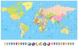 Mappa di mondo e globi politici colorati 3D con le icone di navigazione Fotografie Stock