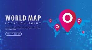 Mappa, mappa di mondo e puntiforme rosso sul punto di posizione illustrazione di stock