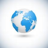 Mappa di mondo ed illustrazione di vettore del dettaglio del globo Immagine Stock