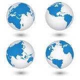 Mappa di mondo ed illustrazione di vettore del dettaglio del globo Fotografie Stock Libere da Diritti