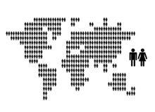 Mappa di mondo fatta dalle icone della gente per la vostra progettazione Fotografie Stock Libere da Diritti