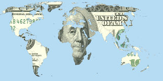 Mappa di mondo fatta dei dollari americani Fotografie Stock