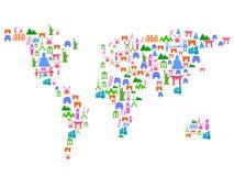 Mappa di mondo fatta delle icone del punto di riferimento Immagine Stock Libera da Diritti