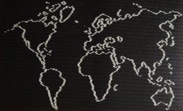 Mappa di mondo fatta di riso Fotografia Stock Libera da Diritti