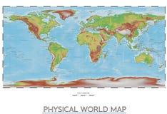 Mappa di mondo fisica Fotografia Stock Libera da Diritti