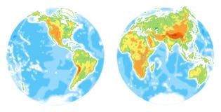 Mappa di mondo. Fisico Fotografie Stock