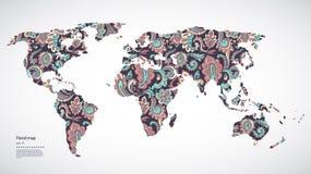 Mappa di mondo floreale di bello vettore Immagini Stock