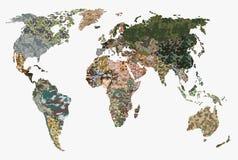 Mappa di mondo - foresta, modello verde del cammuffamento Fotografia Stock