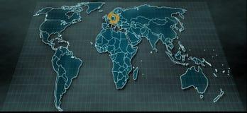 Mappa di mondo futuristica nel visualizzatore digitale con il punto culminante su Berlino Fotografia Stock