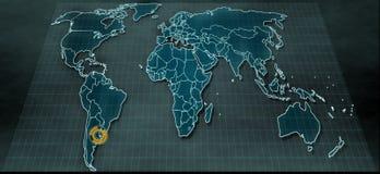 Mappa di mondo futuristica nel visualizzatore digitale con il punto culminante su Buenos Aires Fotografia Stock Libera da Diritti