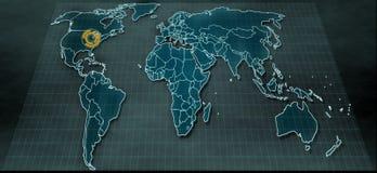 Mappa di mondo futuristica nel visualizzatore digitale con il punto culminante su Chicago Immagini Stock Libere da Diritti