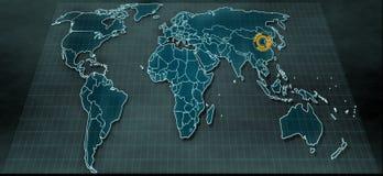 Mappa di mondo futuristica nel visualizzatore digitale con il punto culminante su Pechino Fotografie Stock Libere da Diritti