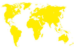 Mappa di mondo gialla, isolata Fotografia Stock Libera da Diritti