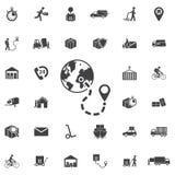 Mappa di mondo globale con l'icona di vettore dei perni di posizione di geo royalty illustrazione gratis