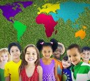 Mappa di mondo globale di globalizzazione Concservation ambientale Conce fotografie stock libere da diritti